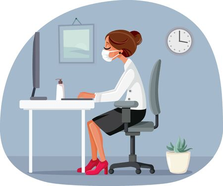 Woman Working in the Office Wearing Medical Face Mask Vector Illustratie