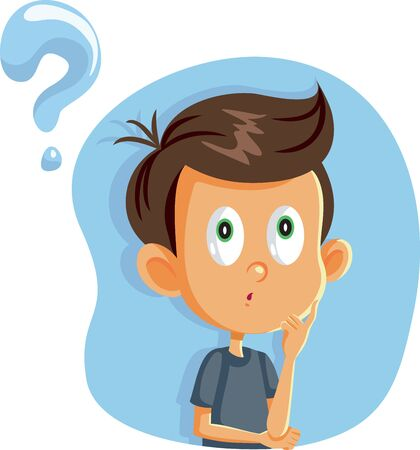 Little Boy Having Many Questions Vector Cartoon