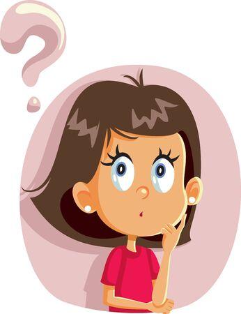 Little Girl Having Many Questions Vector Cartoon Illustration