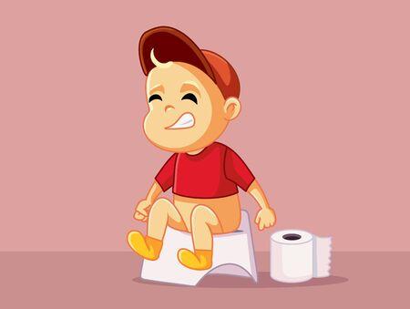 Baby Sitting on the Potty Vector Cartoon Illustration