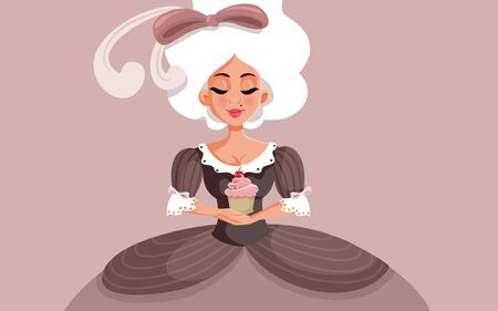 Marie Antoinette Holding a Cupcake Vector Cartoon Illustration
