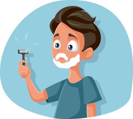 Funny Teenage Boy Shaving Holding Razor