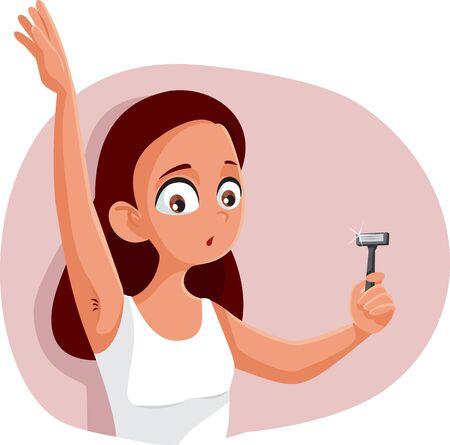 Teen Girl Shaving Armpit Vector Cartoon Illustration Illustration