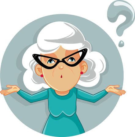 Funny Granny Shrugging Vector Cartoon Illustration