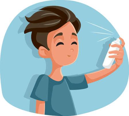 Teen Boy Using Hairspray Vector Cartoon