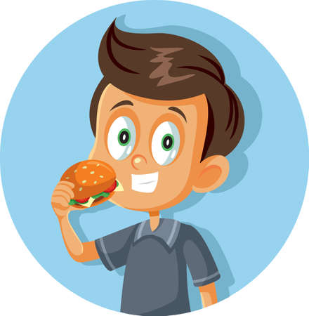 Happy Boy Eating a Hamburger Vector Cartoon