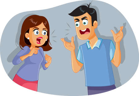 Couple Fighting and Arguing Vector Cartoon
