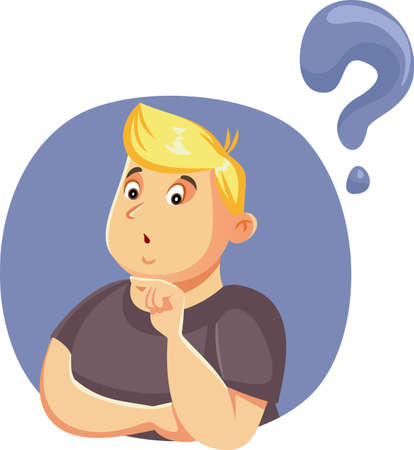 Funny Man Having Questions Vector Cartoon Ilustração