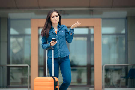 Travel Woman Holding Smartphone Feeling Lost in Airport