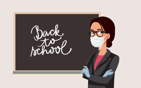 Female Teacher Wearing Mask and Gloves for School Reopening