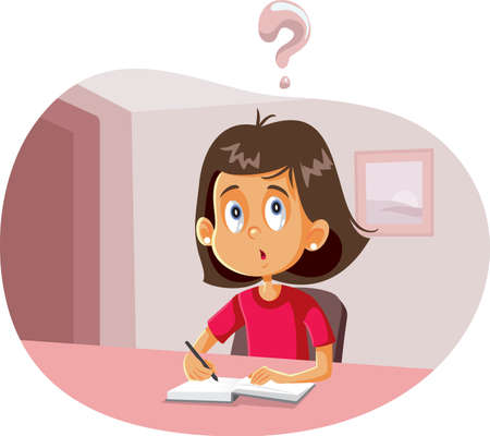 Student Girl Having Questions Doing Homework Vector Cartoon