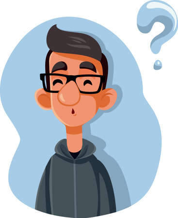 Puzzled Teenager Asking Questions Vector Cartoon