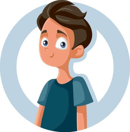 Happy Cute Teen Boy Smiling Vector Cartoon