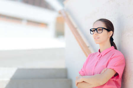 Beautiful Business Woman Wearing Black Frame Glasses