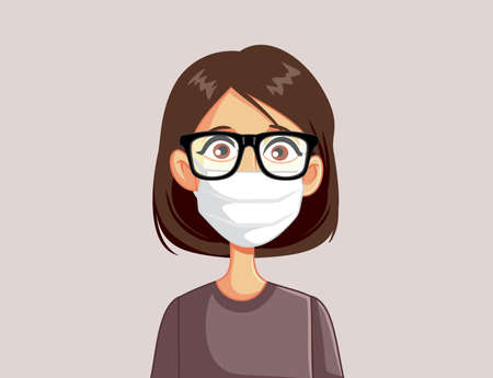 Woman Wearing Glasses and Medical Face Mask Vector Cartoon