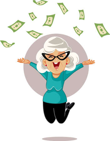 Happy Pensioner Woman Throwing Money up in the Air