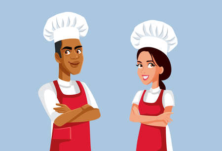 Male and Female Team of Chefs Vector Cartoon Characters Illustration
