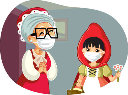 Little Red Riding Hood Wearing a Mask Visiting Grandma Vector Illustration 向量圖像