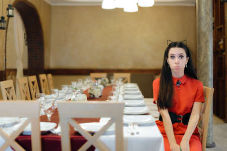 Sad Birthday Girl Sitting Alone at Party Table