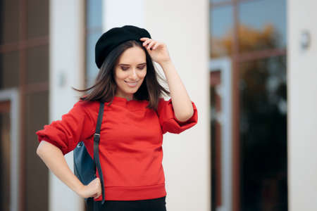 Portrait of a Fashionable Woman Wearing a Beret
