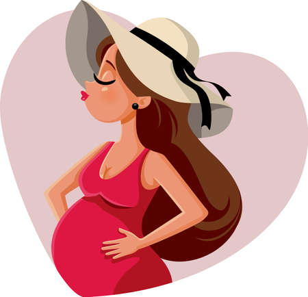 Stylish Pregnant Woman Wearing a Trendy Hat
