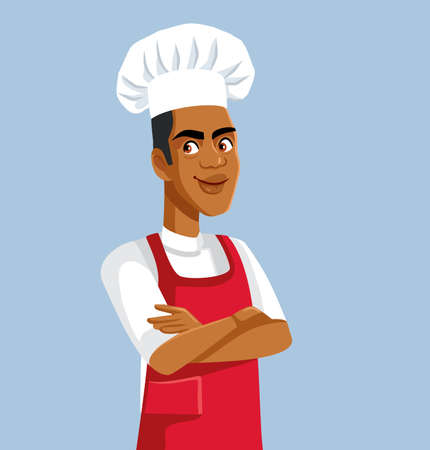 African Male Chef Standing with Arms Crossed