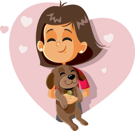 Happy Girl Holding a Puppy Vector Cartoon Vektorové ilustrace