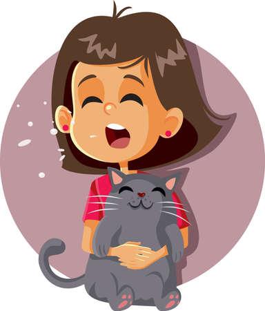 Sneezing Girl Having Cat Allergy Holding Kitten