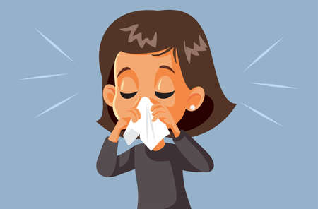 Sick Girl Blowing Her Nose Having the Flu Ilustração