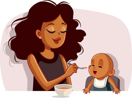 African Mother Feeding Her Baby Solid Food with a Spoon Vector Illustration