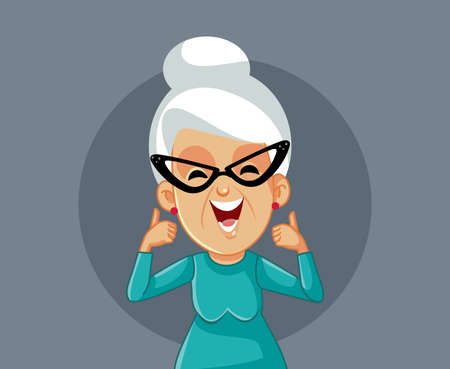 Happy Smiling Elderly Woman Holding Thumbs Up