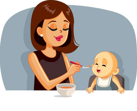 Happy Mother Feeding Her Baby Solid Food with a Spoon Vector Illustratie