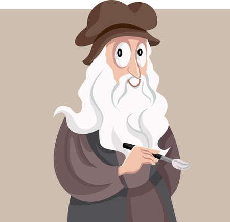 Renaissance Artist Leonardo Da Vinci Vector Cartoon Vettoriali