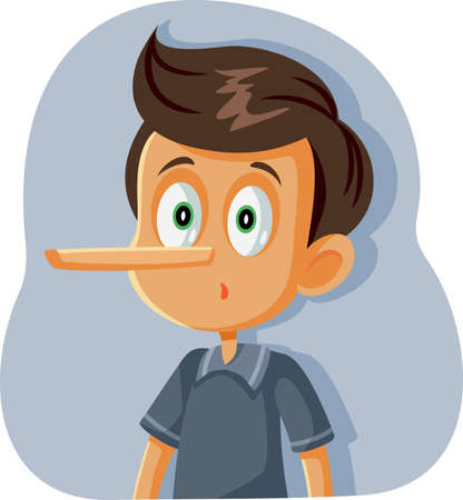 Liar Boy with Long Nose Vector Cartoon 일러스트
