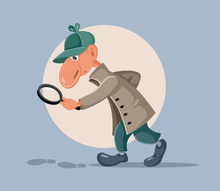 Funny Detective with Magnifying Glass Following Footprints
