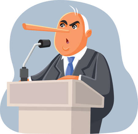 Lying Politician Making False Promises in Electoral Campaign Ilustrace