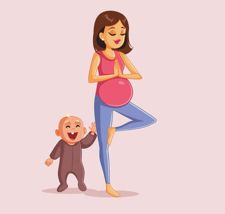 Pregnant Woman Exercising Next to Happy Playful Toddler