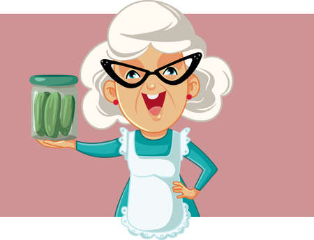 Happy Grandmother Holding a Jar of Pickles