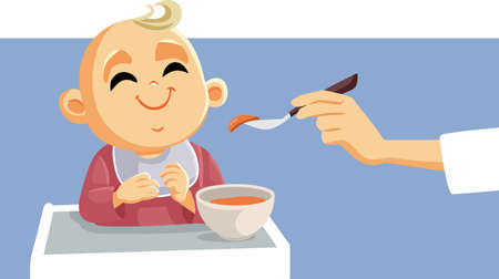 Cute Little Baby Being Fed Using Spoon
