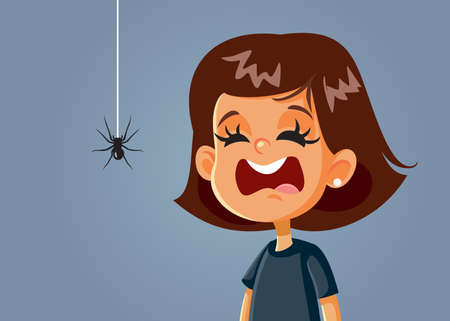 Scared Girl Being Afraid of a Spider Vector Cartoon