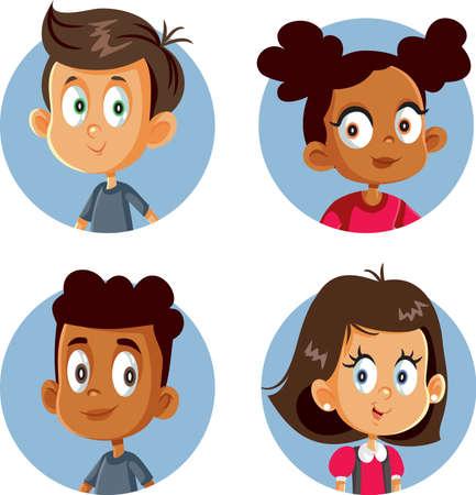 Cute Happy Children Vector Cartoon Set