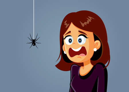 Scared Woman Being Afraid of a Spider Vector Cartoon
