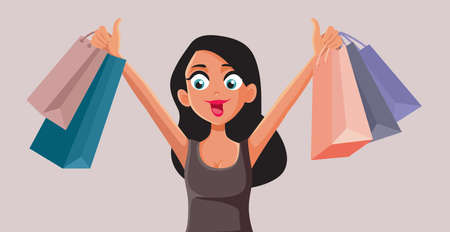 Happy Woman Holding Shopping Bags Vector Cartoon Vettoriali