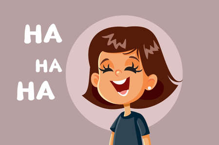 Little Girl Laughing Vector Cartoon Illustration