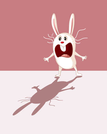 Funny Bunny Being Scared of His Own Shadow Cartoon Illustration 矢量图像