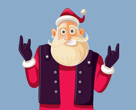 Cool Rock and Roll Santa Claus Vector Cartoon