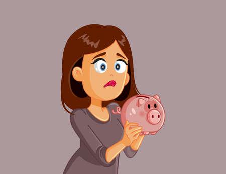 Unhappy Broke Woman Holding Piggy Bank