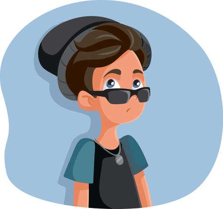 Rebellious Teenage Boy Acting Cool 向量圖像