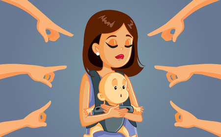 Mom Shaming Concept Vector Cartoon Illustration