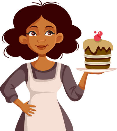 African Female Home Chef Holding Homemade Cake